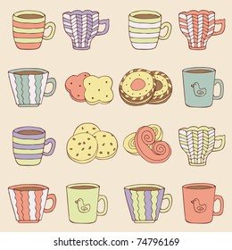 funny seamless with cups and cookies