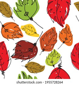 Funny seamless pattern with autumn motif of smiling and colorful leaves.