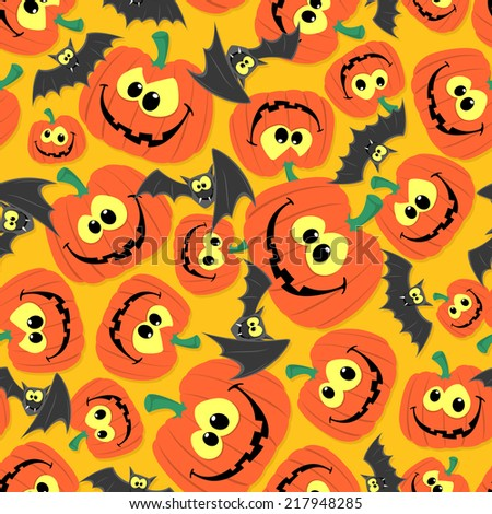 funny seamless pattern background halloween themes stock vector