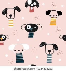 Funny seamless pattern with cartoon dogs. Childish trendy print. Vector hand drawn illustration.