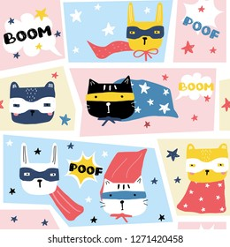 Funny seamless pattern with comic animals superheroes. Trendy kids print. Vector hand drawn illustration.
