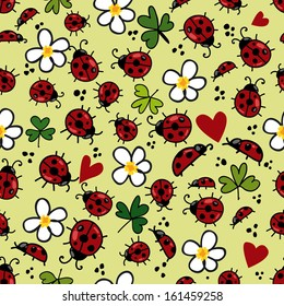 Funny seamless pattern with ladybugs & flowers