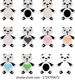 Funny set of 12 Panda bears, exposed in different colors, for kids or babies patterns.