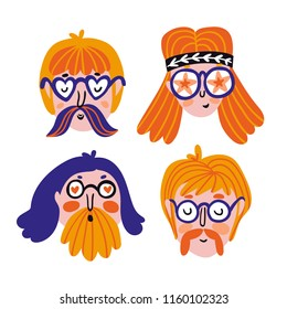Funny set of cute hippies portraits. Vector avatars for festival. Hand drawn stylish faces. Sticker set.