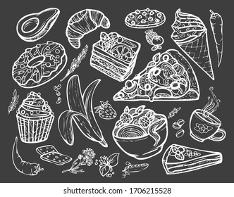 Funny set of popular different food made in doodle style. Perfect for decorating menus, various posts on social networks and as stickers. High resolution