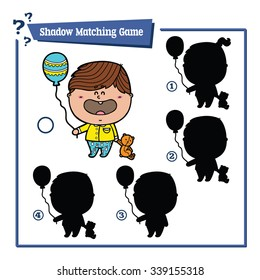 funny shadow boy game. Vector illustration of shadow matching game with happy cartoon  boy for children