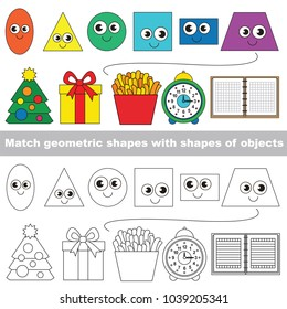 Funny Shapes set to find the appropriate couple of objects, to compare and connect objects and their relevant pairs, the matching educational kid game with simple gaming level for preschool kids.