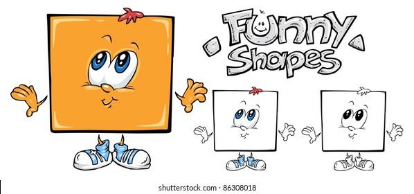 Funny Shapes - Square Cartoon Mascot