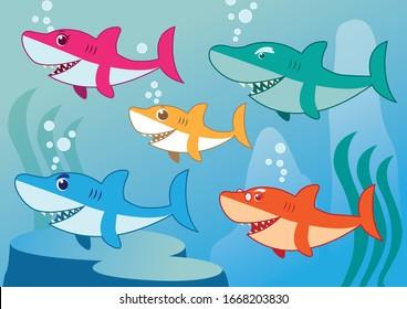 Funny Shark Family in vetor