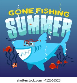 Funny shark with a glasses. Print design idea for jersey fabrics. Vector slogan and Typography design.