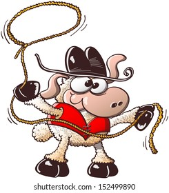Funny sheep with bulging eyes, wearing elegant hat and red waistcoat as a cowboy while preparing to rope in a rodeo event