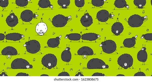 Funny sheep doing yoga, seamless pattern for your design. Vector illustration
