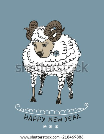 funny sheep happy new year 2015 chinese symbol vector goat 2015 year illustration image