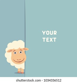 Funny sheep looks out from behind field for your text. Template for card, invitation or greeting.