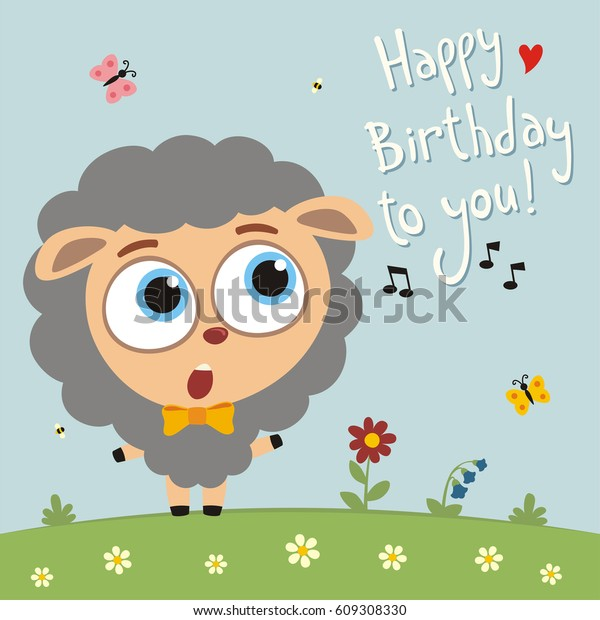 Funny Sheep Sings Song Happy Birthday Stock Vector (Royalty