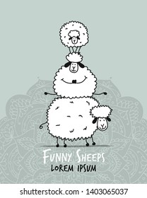 Funny sheeps, sketch for your design