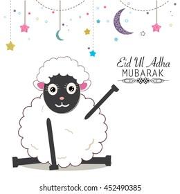 Funny sheeps vector illustration. Islamic festival of sacrifice, eid al adha celebration greeting card.