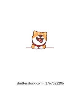 Funny shiba inu dog smiling over wall cartoon, vector illustration