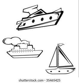 funny ship. yacht and steamboat in vector