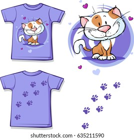 funny shirt with cat - vector illustration