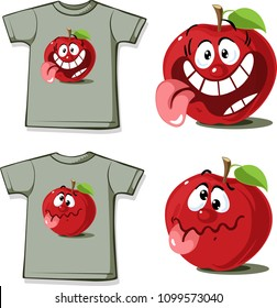 Funny Shirt with cute apple cartoon character - vector illustration