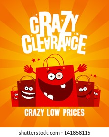 Funny shopping bags, crazy clearance banner