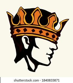 Profil eines gut aussehenden Mannes mit zu großer Krone. Vektorgrafik