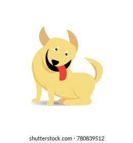 Funny sitting yellow dog stick out red tongue with shadow on white background