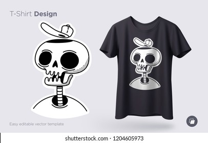 Funny skeleton illustration. Print on T-shirts, sweatshirts and souvenirs. Vector