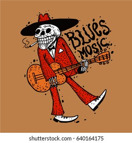 Funny skeleton playing guitar. Blues music poster. vector illustration