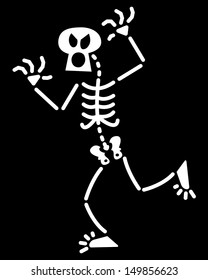 Funny skeleton rising his arms and stepping forward while trying to scare someone so clumsily and shyly that one could say he is just training
