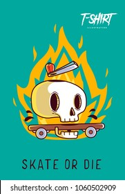 Funny skeleton skater. Print on T-shirts, sweatshirts and souvenirs. Vector illustration.
