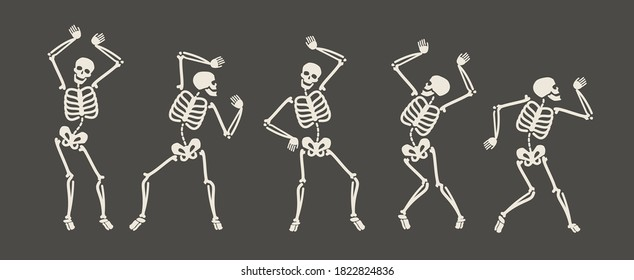 Funny skeletons dancing. Day of Dead, Halloween concept vector illustration