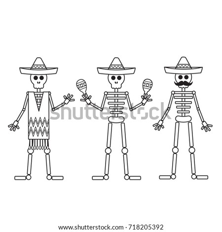 Funny Skeletons Day Dead Coloring Page Stock Vector Royalty Free