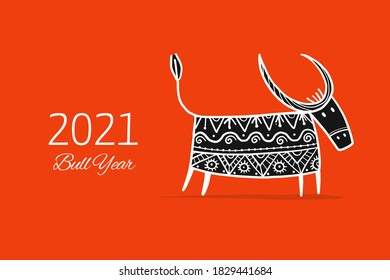 Funny sketch bull. Lunar horoscope sign. Happy new year 2021. Bull, ox, cow. Template for your design - poster, card, invitation. Vector illustration