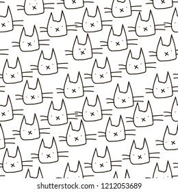 Funny sketch cats heads seamless pattern for your fabric textile design, wrapping paper or wallpaper.