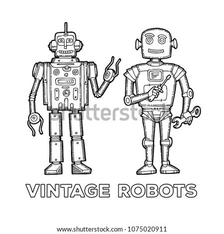 Funny Sketch Vintage Robots Printable Version Stock Vector Royalty