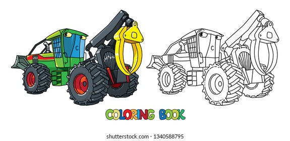 Funny skidder car with eyes coloring book. Small funny vector cute car with eyes and mouth. Children vector illustration. Forestry machinery