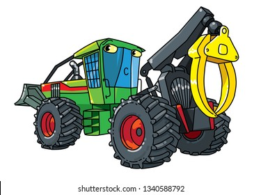 Funny skidder car with eyes . Small funny vector cute car with eyes and mouth. Children vector illustration. Forestry machinery