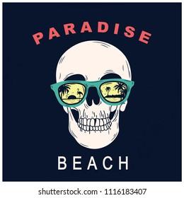 Funny skull vector print.California paradise beach summer  t-shirt design.Sunglasses vector.Retro t-shirt print.