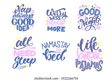Funny sleep and good night quotes set. Vector design elements for t-shirts, pillow, posters, cards, stickers and pajama