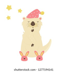 Funny sleepy otter in slippers and night cap. Animal character vector illustration