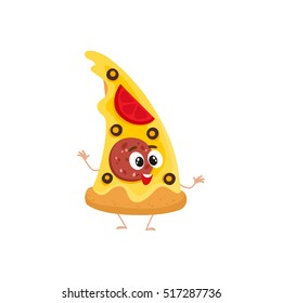 Funny slice of pizza fast food kids menu character, cartoon style vector illustration isolated on white background. Funny pizza character with eyes, legs, and a wide smile