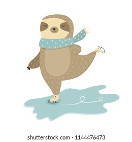 Funny sloth in scarf skating on ice. Winter design.