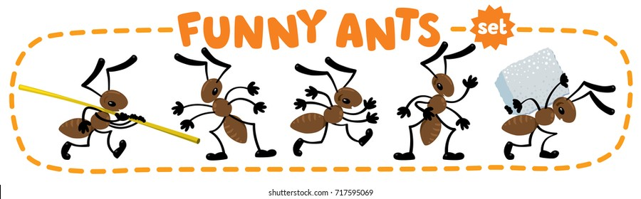 Funny small ants set. Children vector illustration