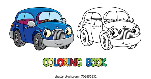 Funny small car with eyes. Coloring book