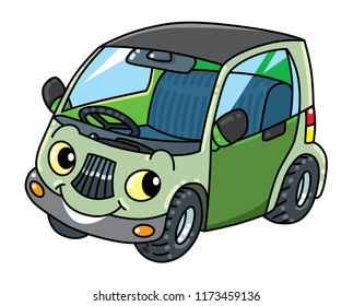 Funny small car with eyes vector illustration