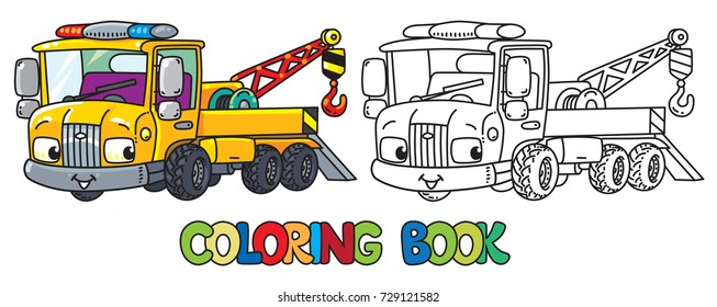 Funny small tow truck with eyes. Coloring book