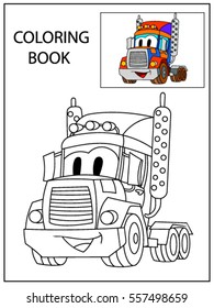 Funny smile cartoon  truck.  Coloring book page for children education. Funny smile cartoon  truck. Vector comic character isolated on white background.