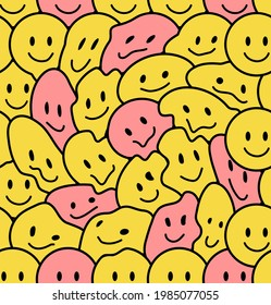 Funny smile crazy cute face seamless pattern.Vector cartoon kawaii character illustration icon design.Positive good vibes smile smiley faces,acid, high,trip,techno,70s cartoon seamless pattern concept
